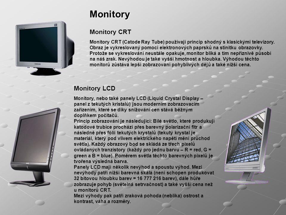 Monitory Monitory CRT Monitory CRT (Catode Ray Tube) používají princip shodný s klasickými televizory. Obraz je vykreslovaný pomocí elektronových papr