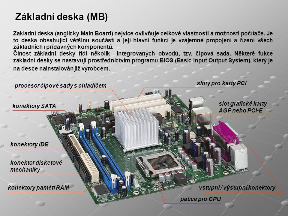 Zakladní deska (anglicky Main Board) nejvíce ovlivňuje celkové vlastnosti a možnosti počítače. Je to deska obsahující většinu součástí a její hlavní f