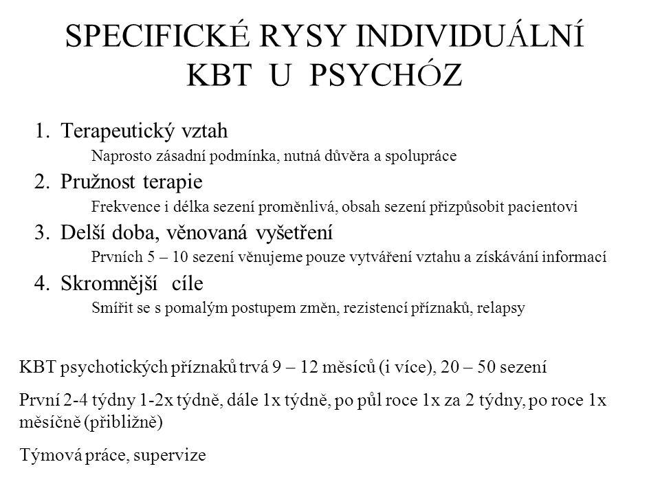 SPECIFICK É RYSY INDIVIDU Á LN Í KBT U PSYCH Ó Z 1.Terapeutický vztah Naprosto zásadní podmínka, nutná důvěra a spolupráce 2.Pružnost terapie Frekvence i délka sezení proměnlivá, obsah sezení přizpůsobit pacientovi 3.Delší doba, věnovaná vyšetření Prvních 5 – 10 sezení věnujeme pouze vytváření vztahu a získávání informací 4.Skromnější cíle Smířit se s pomalým postupem změn, rezistencí příznaků, relapsy KBT psychotických příznaků trvá 9 – 12 měsíců (i více), 20 – 50 sezení První 2-4 týdny 1-2x týdně, dále 1x týdně, po půl roce 1x za 2 týdny, po roce 1x měsíčně (přibližně) Týmová práce, supervize