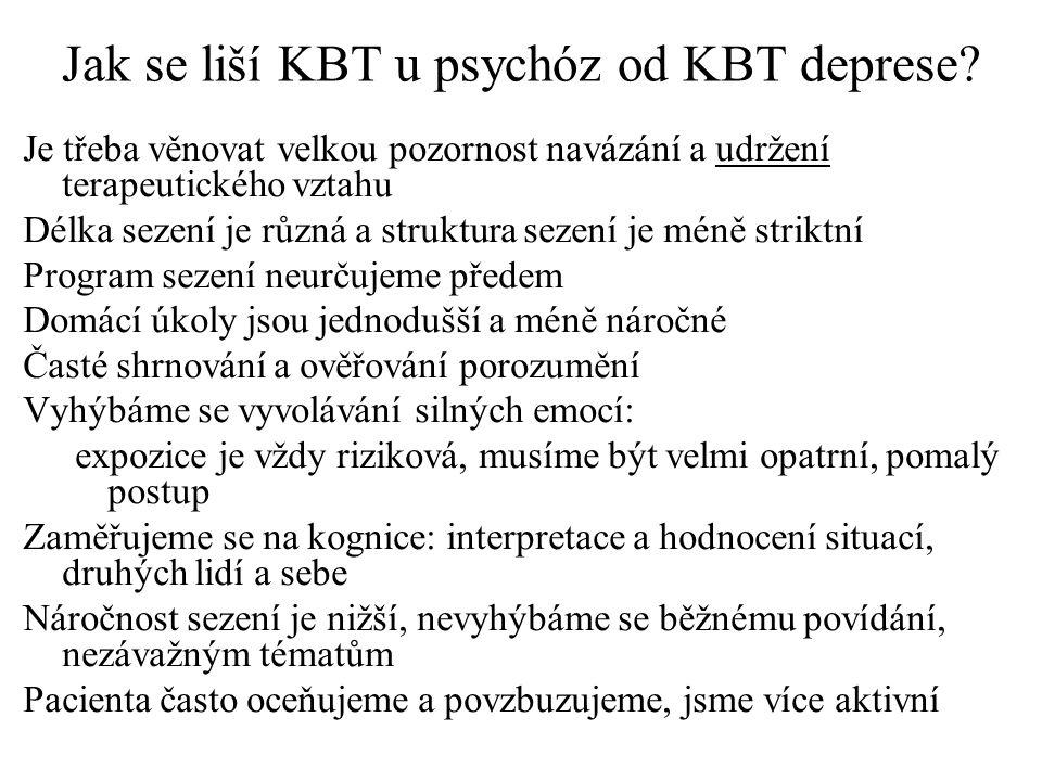 Jak se liší KBT u psychóz od KBT deprese.