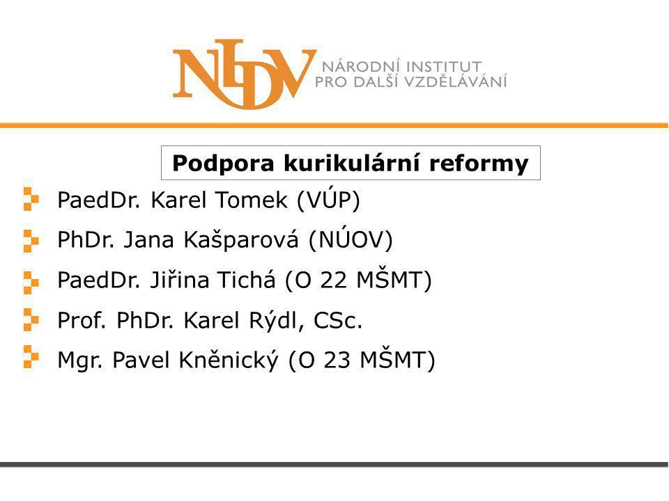 Podpora kurikulární reformy PaedDr. Karel Tomek (VÚP) PhDr.