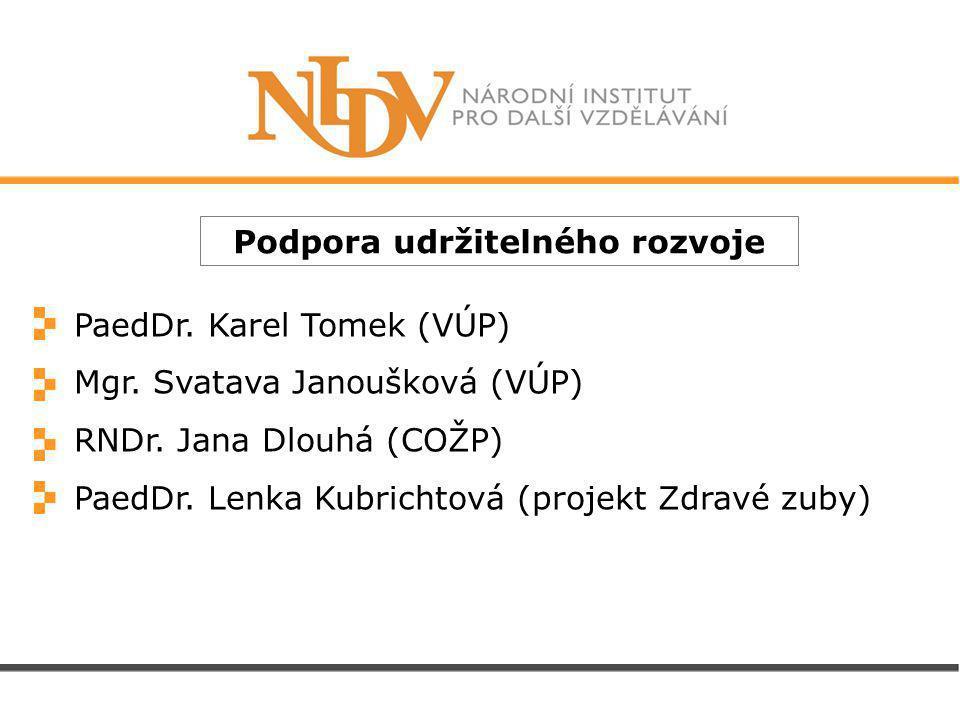 Podpora udržitelného rozvoje PaedDr. Karel Tomek (VÚP) Mgr.