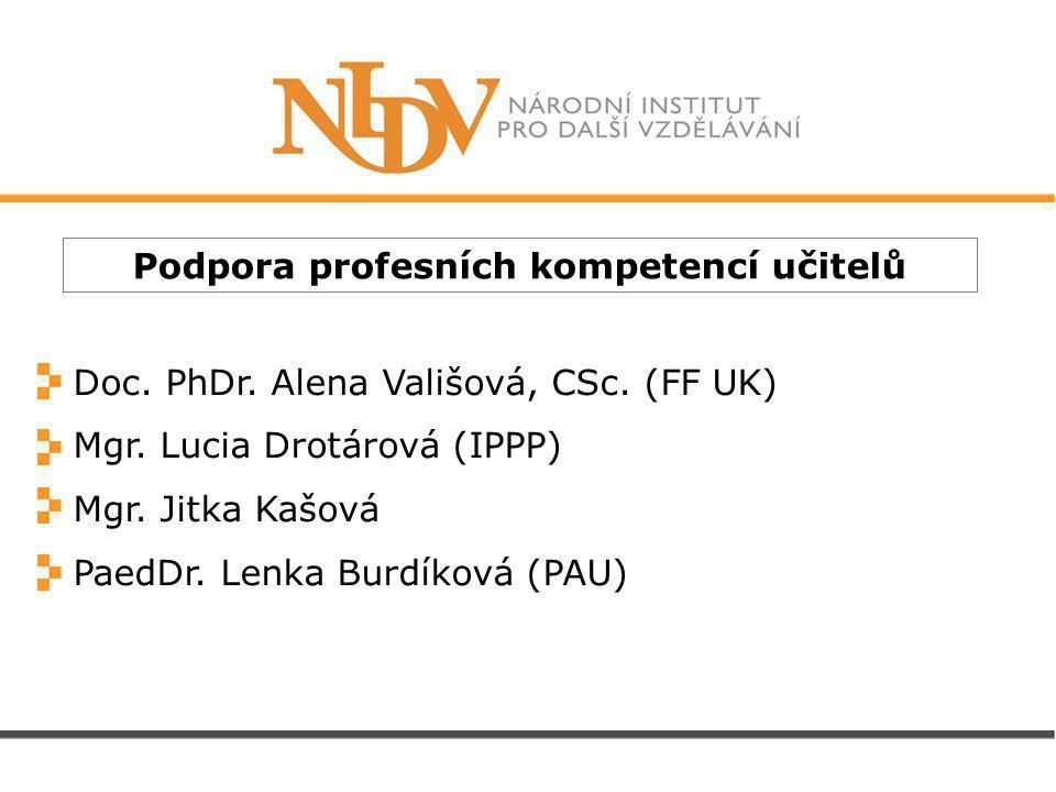 Podpora profesních kompetencí učitelů Doc. PhDr. Alena Vališová, CSc.