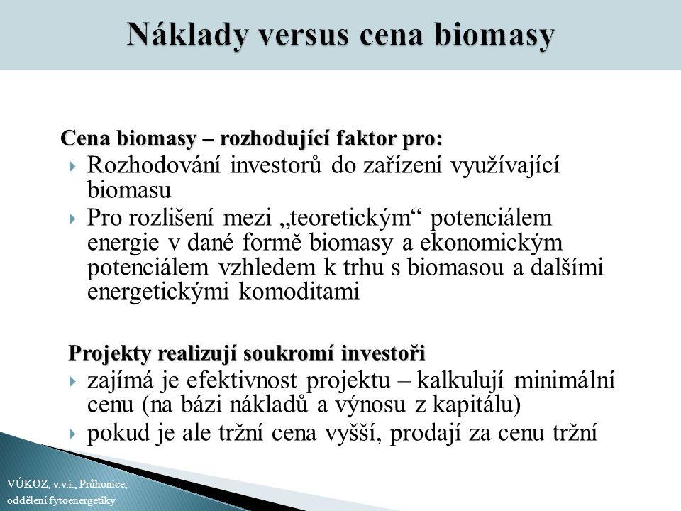 """Cena biomasy – rozhodující faktor pro:  Rozhodování investorů do zařízení využívající biomasu  Pro rozlišení mezi """"teoretickým potenciálem energie v dané formě biomasy a ekonomickým potenciálem vzhledem k trhu s biomasou a dalšími energetickými komoditami Projekty realizují soukromí investoři  zajímá je efektivnost projektu – kalkulují minimální cenu (na bázi nákladů a výnosu z kapitálu)  pokud je ale tržní cena vyšší, prodají za cenu tržní VÚKOZ, v.v.i., Průhonice, oddělení fytoenergetiky"""