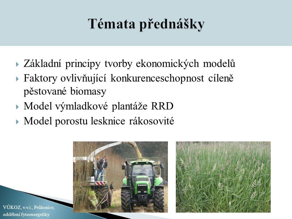 Témata přednášky  Základní principy tvorby ekonomických modelů  Faktory ovlivňující konkurenceschopnost cíleně pěstované biomasy  Model výmladkové plantáže RRD  Model porostu lesknice rákosovité VÚKOZ, v.v.i., Průhonice, oddělení fytoenergetiky