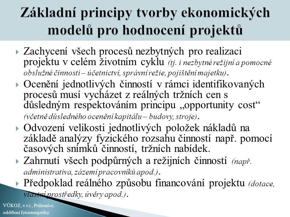 Základní principy tvorby ekonomických modelů pro hodnocení projektů  Zachycení všech procesů nezbytných pro realizaci projektu v celém životním cyklu