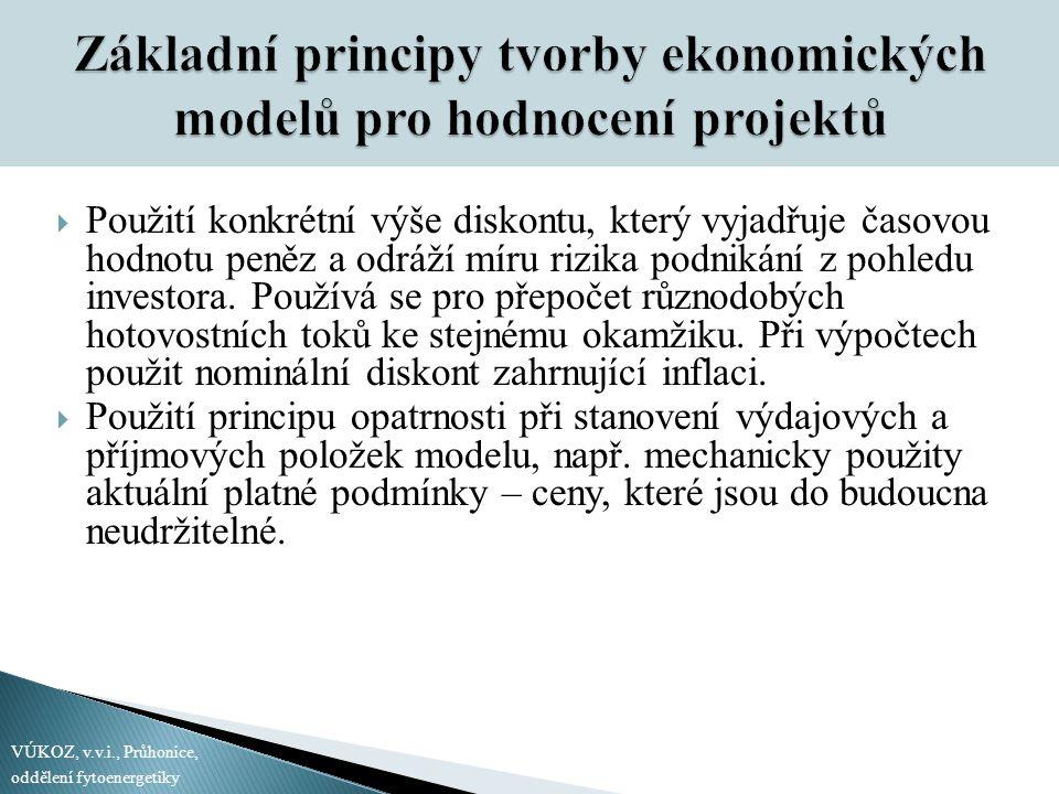 Základní principy tvorby ekonomických modelů pro hodnocení projektů  Použití konkrétní výše diskontu, který vyjadřuje časovou hodnotu peněz a odráží