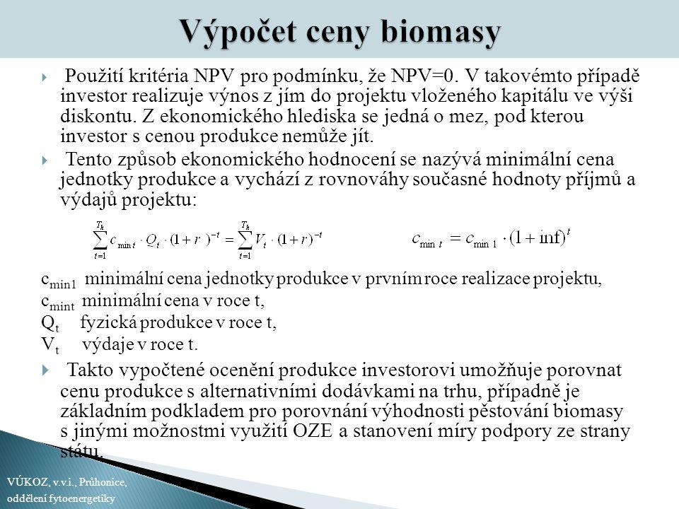 Výpočet ceny biomasy  Použití kritéria NPV pro podmínku, že NPV=0. V takovémto případě investor realizuje výnos z jím do projektu vloženého kapitálu