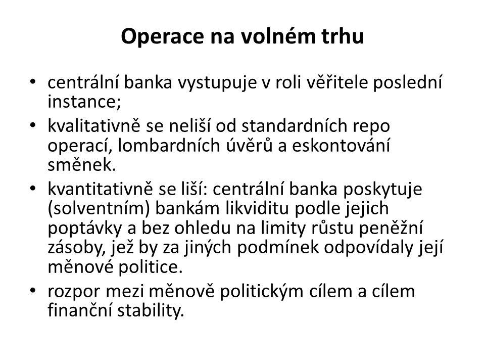 Operace na volném trhu centrální banka vystupuje v roli věřitele poslední instance; kvalitativně se neliší od standardních repo operací, lombardních úvěrů a eskontování směnek.