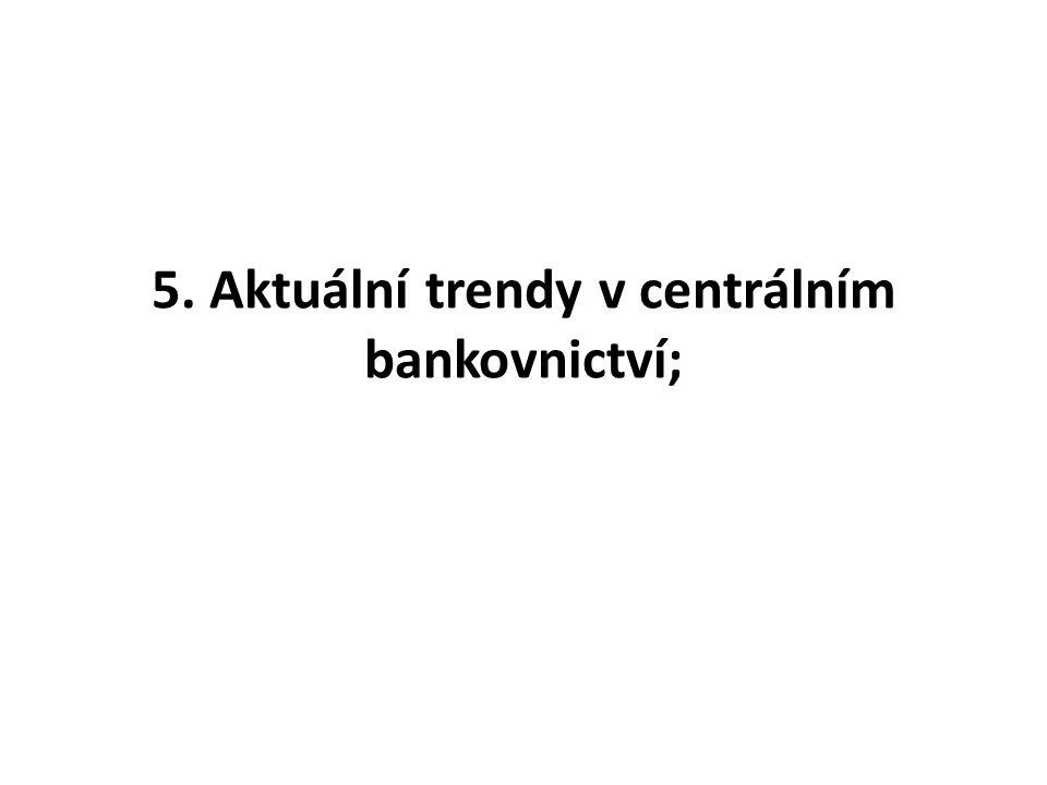 5. Aktuální trendy v centrálním bankovnictví;