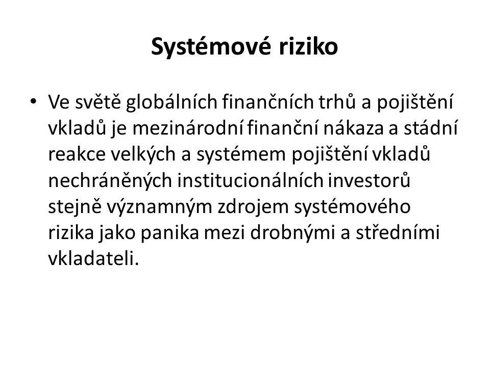 Systémové riziko Ve světě globálních finančních trhů a pojištění vkladů je mezinárodní finanční nákaza a stádní reakce velkých a systémem pojištění vkladů nechráněných institucionálních investorů stejně významným zdrojem systémového rizika jako panika mezi drobnými a středními vkladateli.