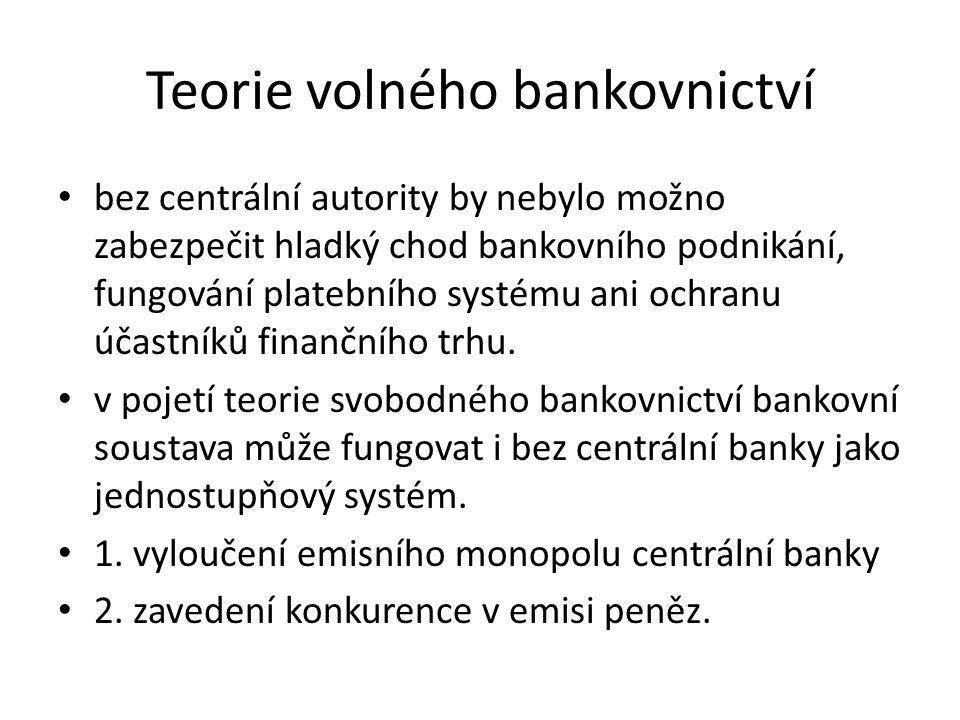 Teorie volného bankovnictví bez centrální autority by nebylo možno zabezpečit hladký chod bankovního podnikání, fungování platebního systému ani ochranu účastníků finančního trhu.