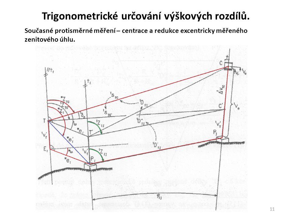 11 Současné protisměrné měření – centrace a redukce excentricky měřeného zenitového úhlu. Trigonometrické určování výškových rozdílů.