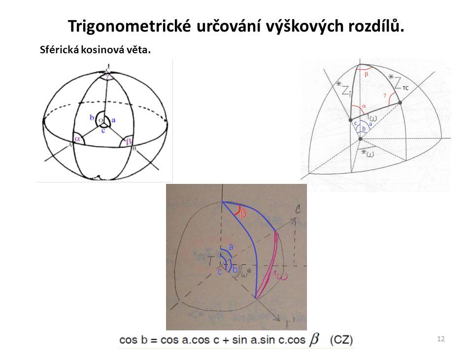 12 Sférická kosinová věta. Trigonometrické určování výškových rozdílů.