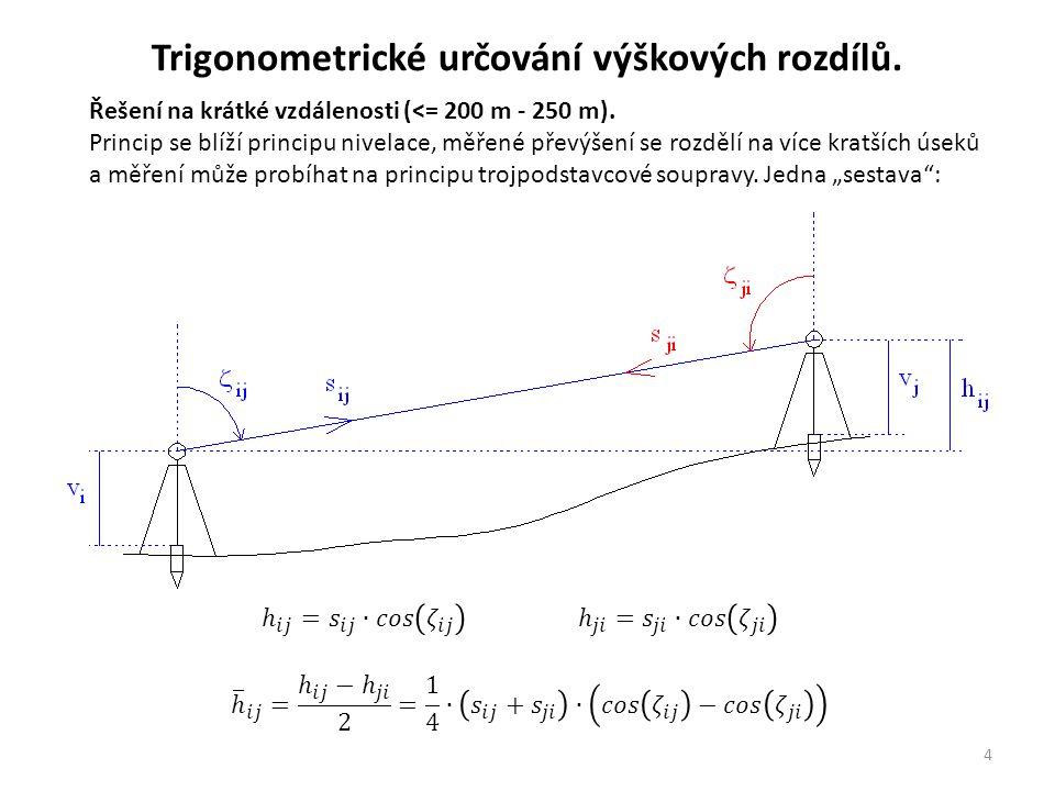 4 Řešení na krátké vzdálenosti (<= 200 m - 250 m). Princip se blíží principu nivelace, měřené převýšení se rozdělí na více kratších úseků a měření můž