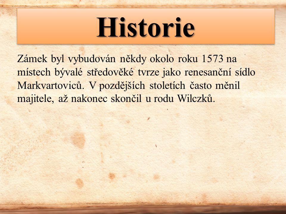 HistorieHistorie Zámek byl vybudován někdy okolo roku 1573 na místech bývalé středověké tvrze jako renesanční sídlo Markvartoviců. V pozdějších stolet
