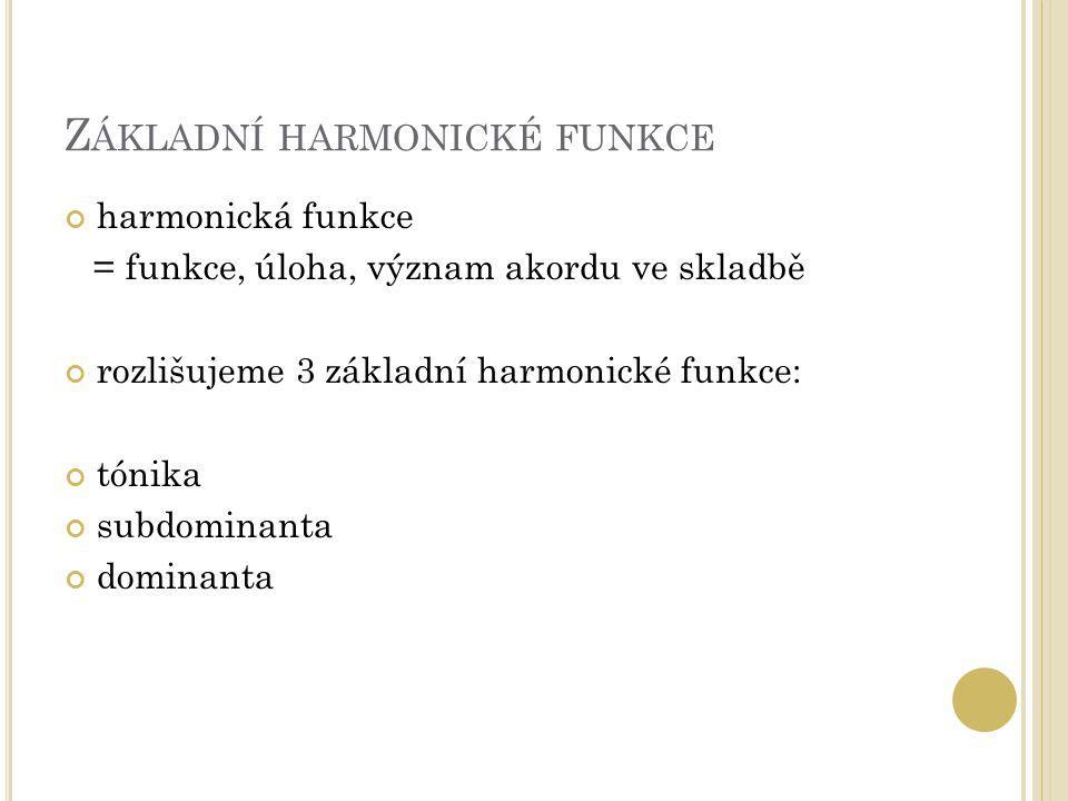 Z ÁKLADNÍ HARMONICKÉ FUNKCE harmonická funkce = funkce, úloha, význam akordu ve skladbě rozlišujeme 3 základní harmonické funkce: tónika subdominanta