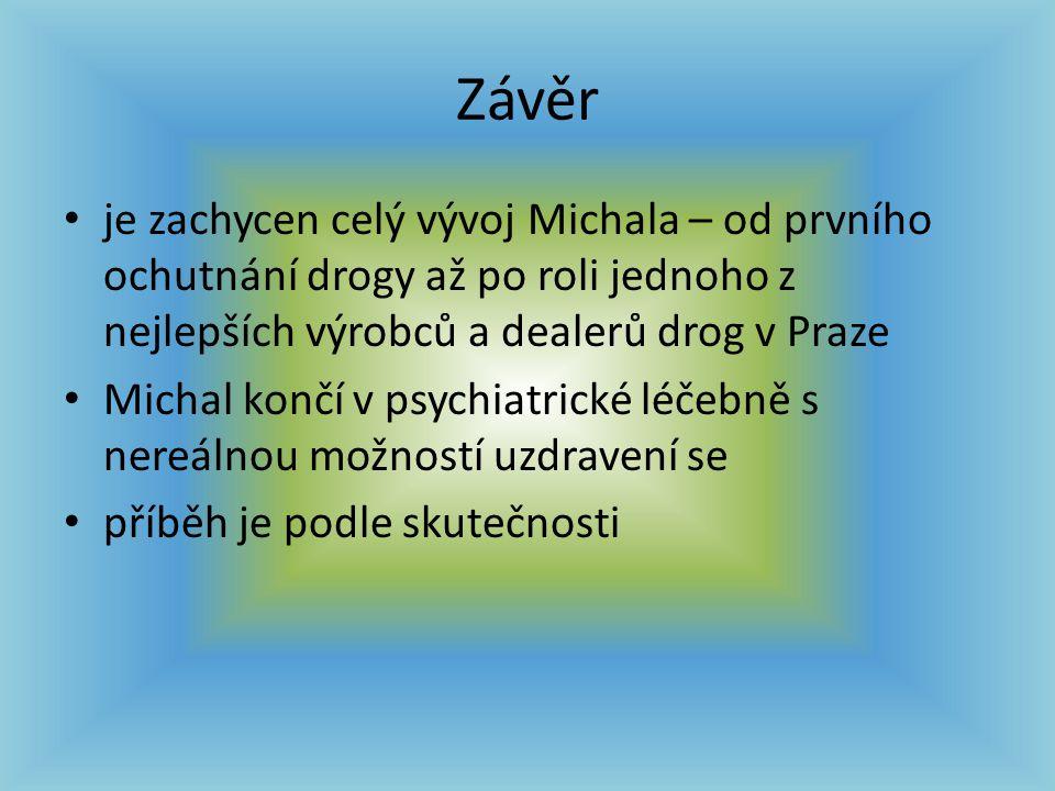 Závěr je zachycen celý vývoj Michala – od prvního ochutnání drogy až po roli jednoho z nejlepších výrobců a dealerů drog v Praze Michal končí v psychi