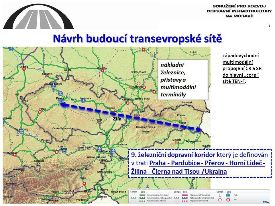 """5 Návrh budoucí transevropské sítě západovýchodní multimodální propojení ČR a SR do hlavní """"core"""" sítě TEN-T."""
