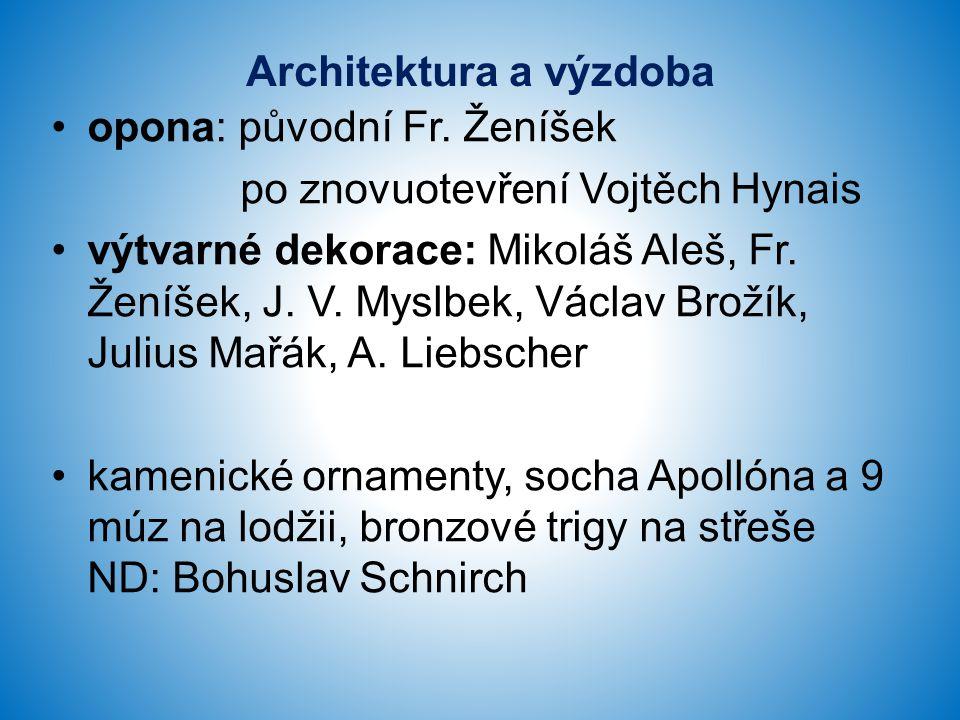 Architektura a výzdoba opona: původní Fr. Ženíšek po znovuotevření Vojtěch Hynais výtvarné dekorace: Mikoláš Aleš, Fr. Ženíšek, J. V. Myslbek, Václav