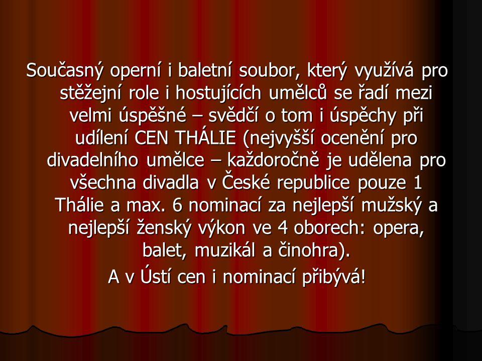 Současný operní i baletní soubor, který využívá pro stěžejní role i hostujících umělců se řadí mezi velmi úspěšné – svědčí o tom i úspěchy při udílení CEN THÁLIE (nejvyšší ocenění pro divadelního umělce – každoročně je udělena pro všechna divadla v České republice pouze 1 Thálie a max.
