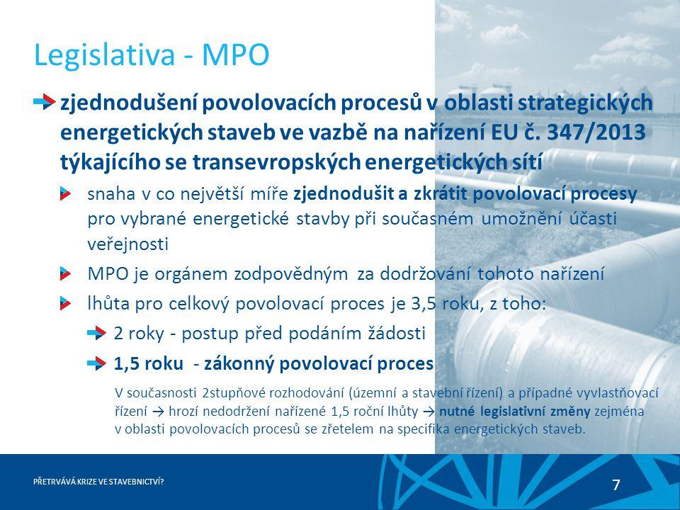 PŘETRVÁVÁ KRIZE VE STAVEBNICTVÍ? 7 Legislativa - MPO zjednodušení povolovacích procesů v oblasti strategických energetických staveb ve vazbě na naříze