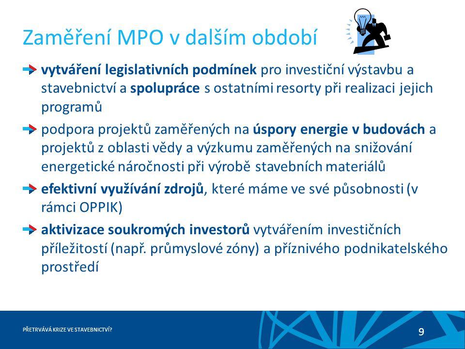 PŘETRVÁVÁ KRIZE VE STAVEBNICTVÍ? 9 Zaměření MPO v dalším období vytváření legislativních podmínek pro investiční výstavbu a stavebnictví a spolupráce