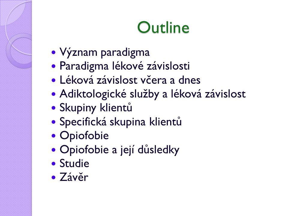 Outline Význam paradigma Paradigma lékové závislosti Léková závislost včera a dnes Adiktologické služby a léková závislost Skupiny klientů Specifická skupina klientů Opiofobie Opiofobie a její důsledky Studie Závěr