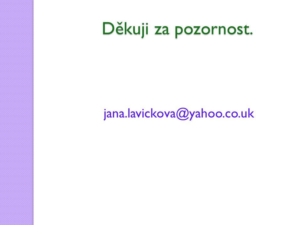 Děkuji za pozornost. jana.lavickova@yahoo.co.uk