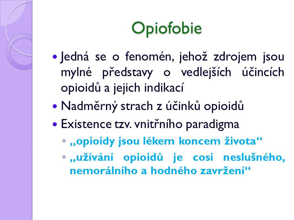 Opiofobie Jedná se o fenomén, jehož zdrojem jsou mylné představy o vedlejších účincích opioidů a jejich indikací Nadměrný strach z účinků opioidů Existence tzv.