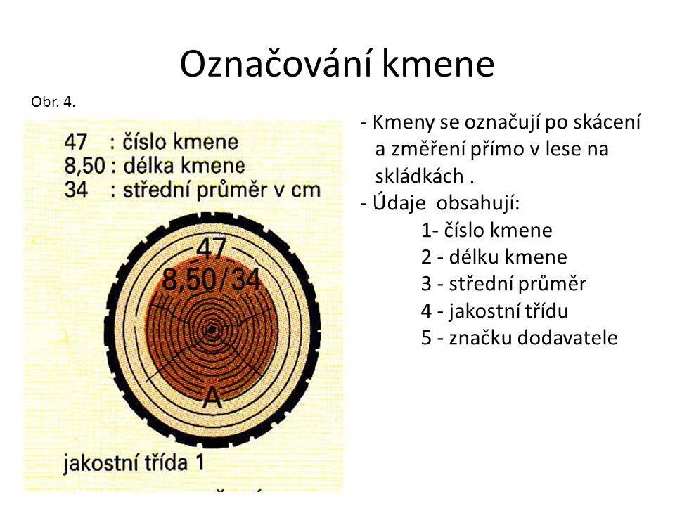 Označování kmene - Kmeny se označují po skácení a změření přímo v lese na skládkách.
