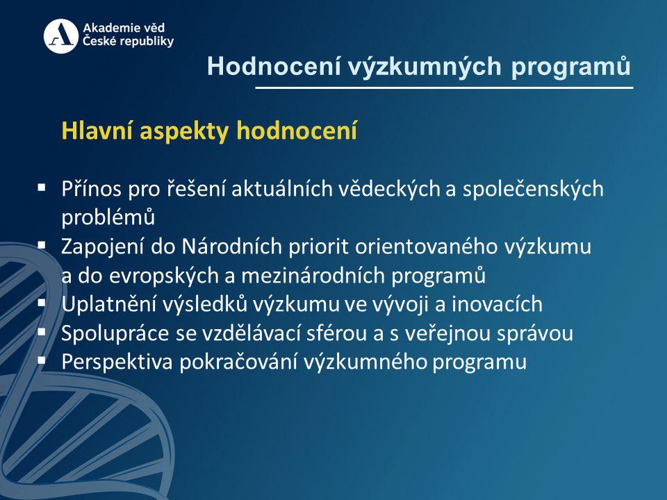 Hodnocení výzkumných programů Hlavní aspekty hodnocení  Přínos pro řešení aktuálních vědeckých a společenských problémů  Zapojení do Národních prior