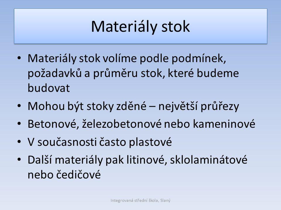 Materiály stok Materiály stok volíme podle podmínek, požadavků a průměru stok, které budeme budovat Mohou být stoky zděné – největší průřezy Betonové,