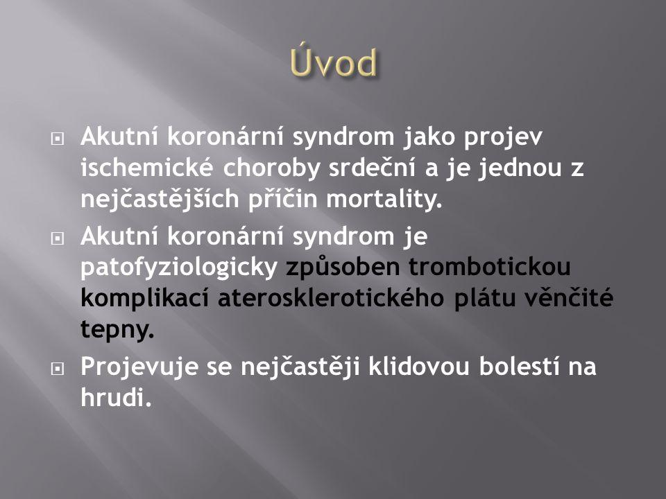  Akutní koronární syndrom jako projev ischemické choroby srdeční a je jednou z nejčastějších příčin mortality.  Akutní koronární syndrom je patofyzi