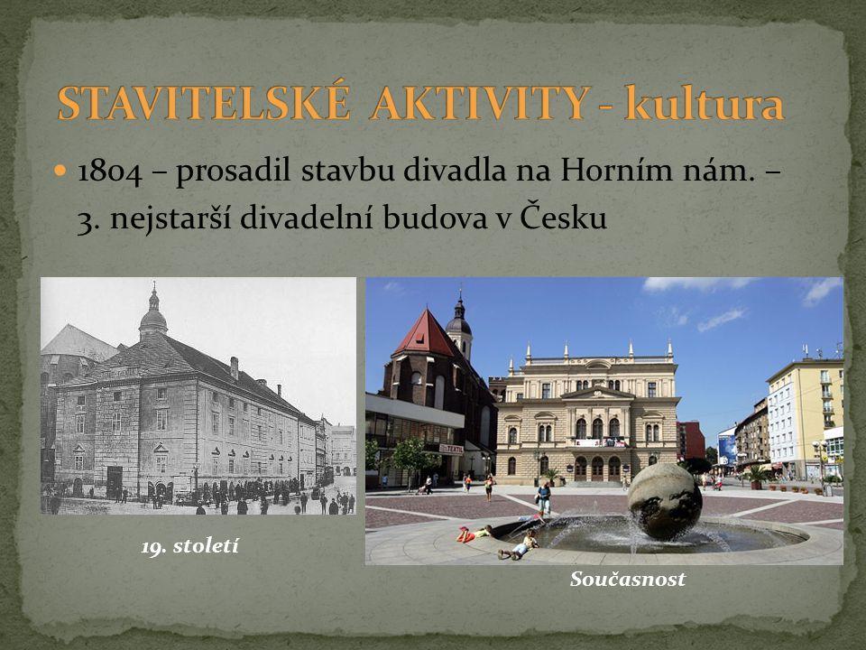 1804 – prosadil stavbu divadla na Horním nám. – 3. nejstarší divadelní budova v Česku 19. století Současnost