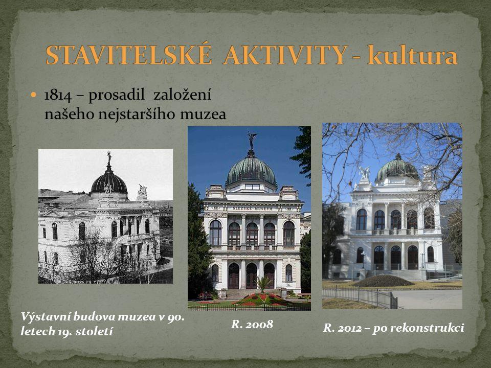 1814 – prosadil založení našeho nejstaršího muzea Výstavní budova muzea v 90. letech 19. století R. 2008 R. 2012 – po rekonstrukci