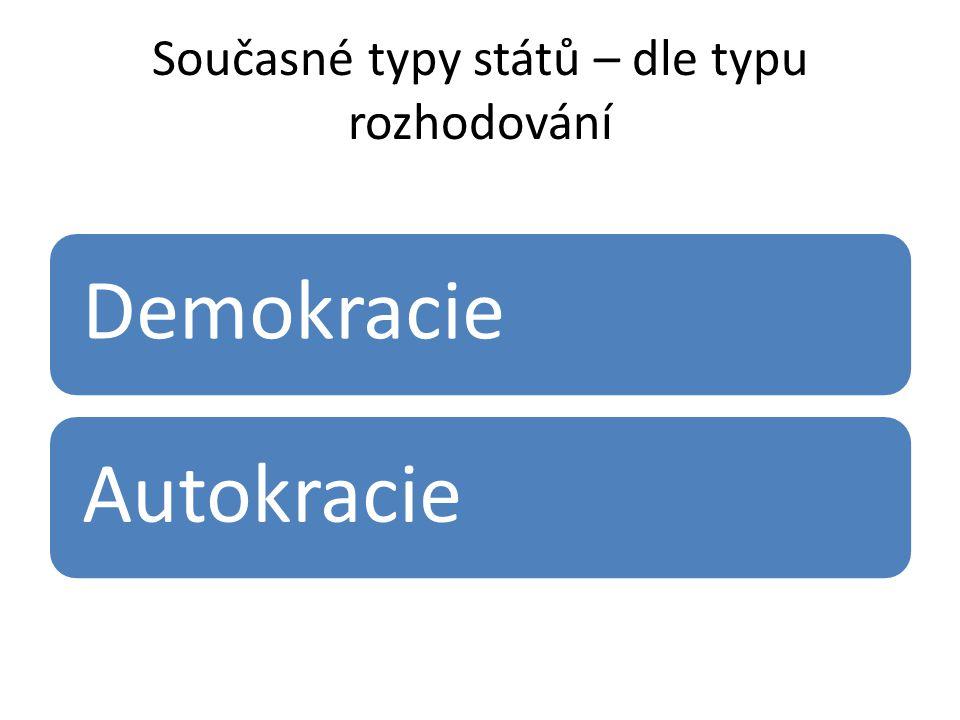 Současné typy států – dle typu rozhodování DemokracieAutokracie