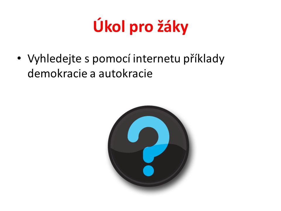 Úkol pro žáky Vyhledejte s pomocí internetu příklady demokracie a autokracie