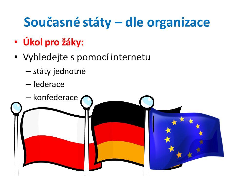 Unitární stát existuje v něm jediná – soustava nejvyšších státních orgánů – zákonodárná moc a výkonná moc – státní občanství Největším unitárním státem je Čína Další – Česká republika, Mongolsko, Francie…
