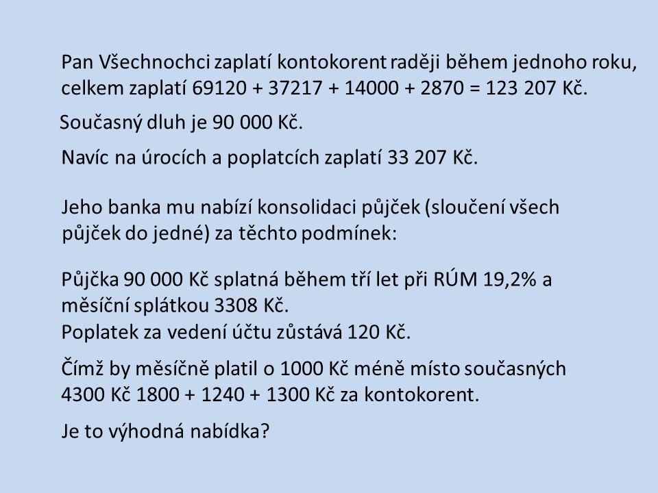 Pan Všechnochci zaplatí kontokorent raději během jednoho roku, celkem zaplatí 69120 + 37217 + 14000 + 2870 = 123 207 Kč. Současný dluh je 90 000 Kč. N