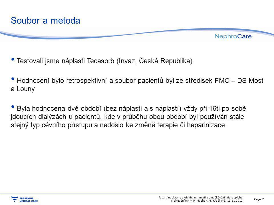 Soubor a metoda Kritéria splnilo celkem 34 pacientů 28 s nativní fistulí 6 s PTFE graftem Dohromady hodnoceno v jednom období vždy 34 * 16 = 544 dialýz Heparinizace nativní fistule Fraxiparine 0,4 ml i.v.