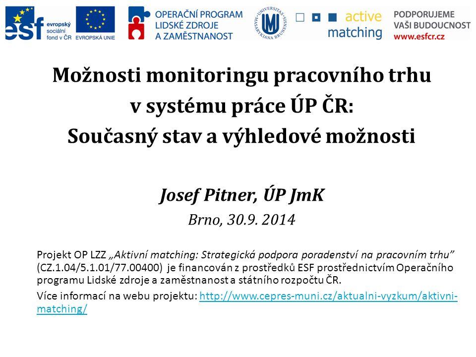Možnosti monitoringu pracovního trhu v systému práce ÚP ČR: Současný stav a výhledové možnosti Josef Pitner, ÚP JmK Brno, 30.9.