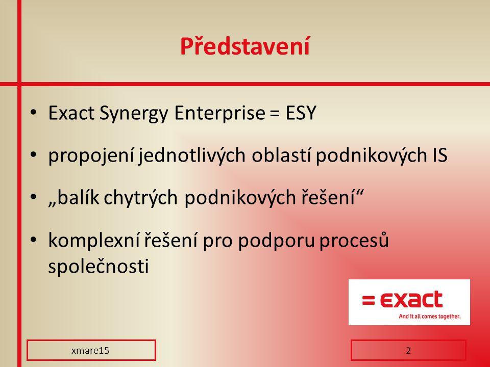 """Představení Exact Synergy Enterprise = ESY propojení jednotlivých oblastí podnikových IS """"balík chytrých podnikových řešení"""" komplexní řešení pro podp"""