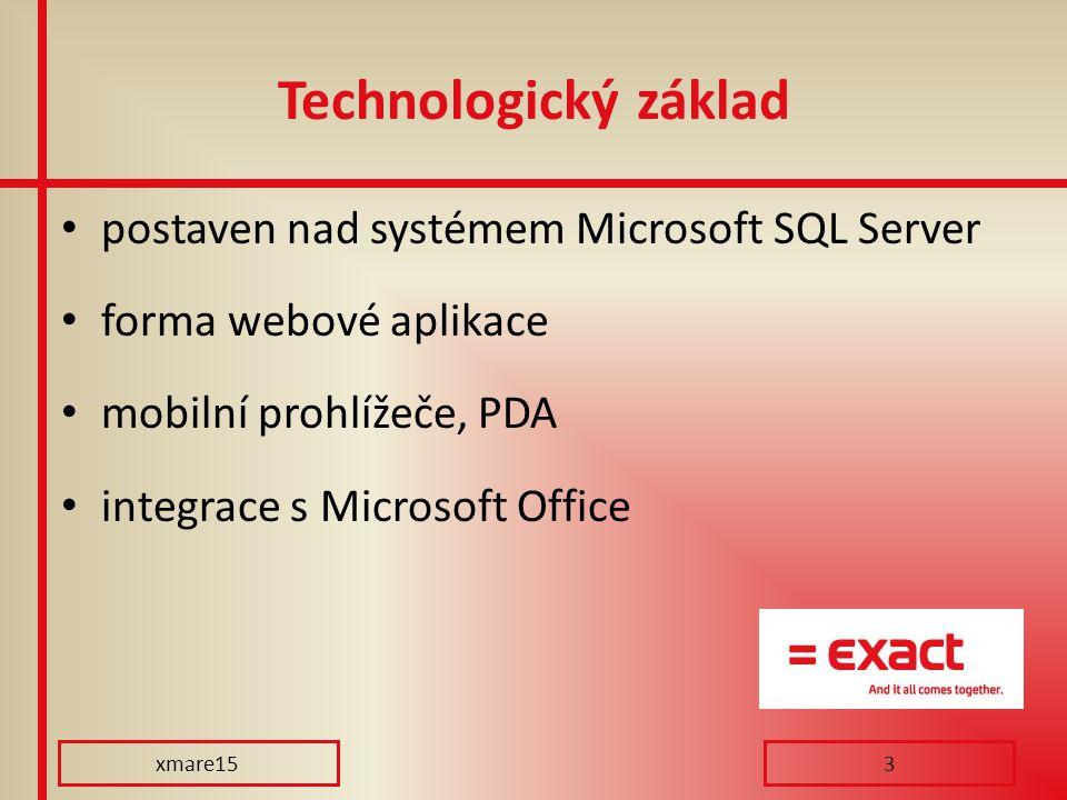Technologický základ postaven nad systémem Microsoft SQL Server forma webové aplikace mobilní prohlížeče, PDA integrace s Microsoft Office xmare153