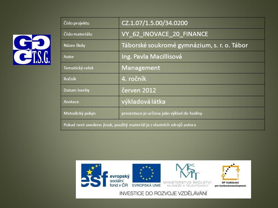 Číslo projektu CZ.1.07/1.5.00/34.0200 Číslo materiálu VY_62_INOVACE_20_FINANCE Název školy Táborské soukromé gymnázium, s.