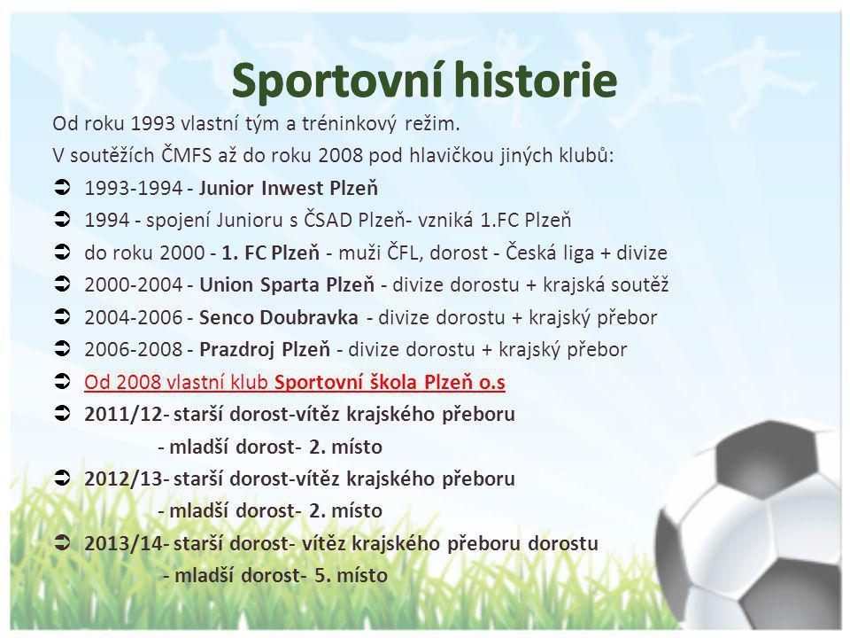 Od roku 1993 vlastní tým a tréninkový režim. V soutěžích ČMFS až do roku 2008 pod hlavičkou jiných klubů:  1993-1994 - Junior Inwest Plzeň  1994 - s