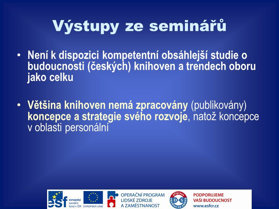 Výstupy ze seminářů Není k dispozici kompetentní obsáhlejší studie o budoucnosti (českých) knihoven a trendech oboru jako celku Většina knihoven nemá zpracovány (publikovány) koncepce a strategie svého rozvoje, natož koncepce v oblasti personální