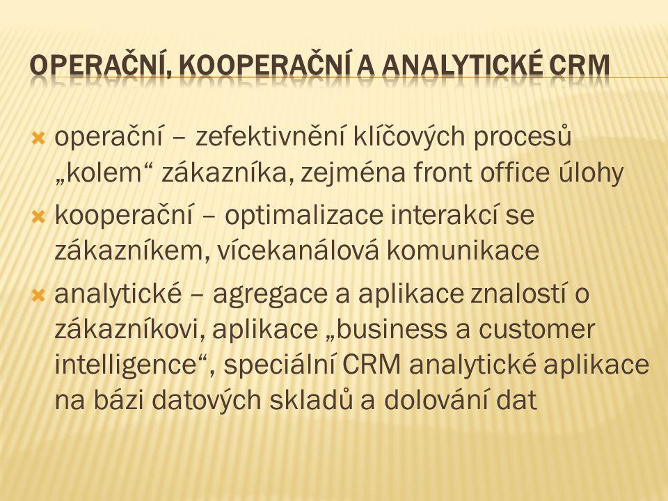 """ operační – zefektivnění klíčových procesů """"kolem zákazníka, zejména front office úlohy  kooperační – optimalizace interakcí se zákazníkem, vícekanálová komunikace  analytické – agregace a aplikace znalostí o zákazníkovi, aplikace """"business a customer intelligence , speciální CRM analytické aplikace na bázi datových skladů a dolování dat"""