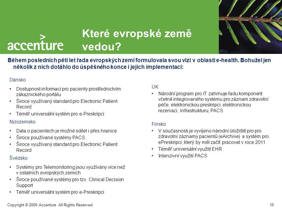 Copyright © 2009 Accenture All Rights Reserved. Které evropské země vedou? Během posledních pěti let řada evropských zemí formulovala svou vizi v obla