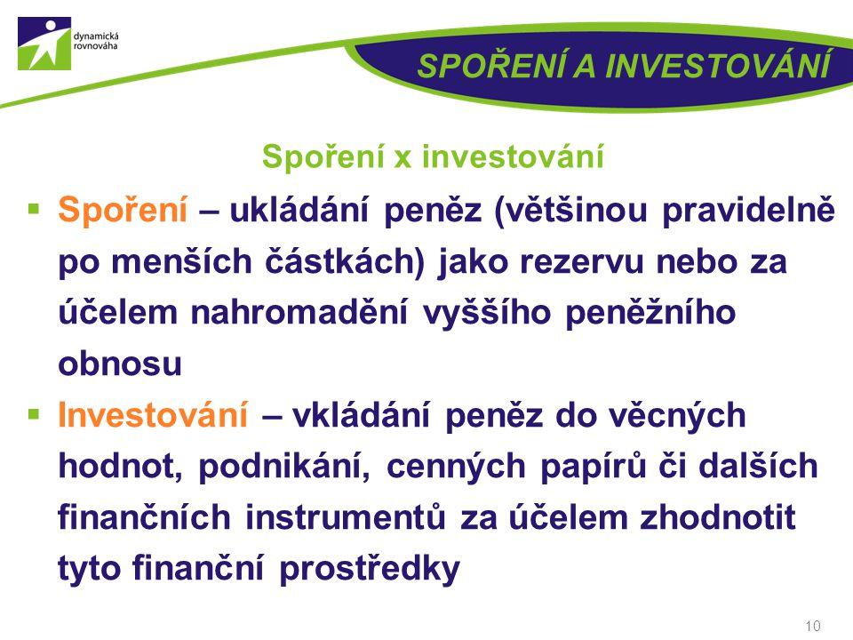 9 SPOŘENÍ A INVESTOVÁNÍ Nástroje spoření a investování Investování do:  Nemovitostí  Komodit (zlato, stříbro, diamanty, …)  Cenných papírů (dluhopi